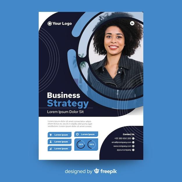 Флаер абстрактный бизнес с фото шаблон Бесплатные векторы