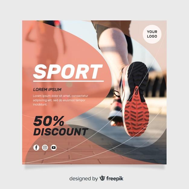Спортивный флаер с фото шаблоном Бесплатные векторы