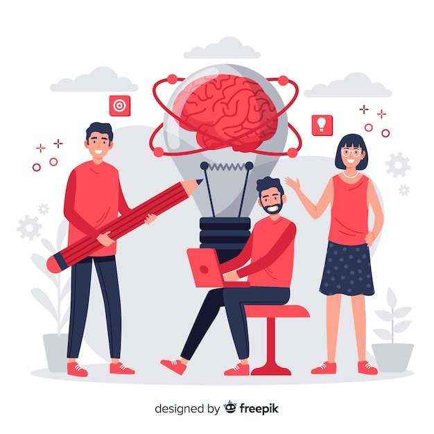 Концепция мозгового штурма целевой страницы Бесплатные векторы