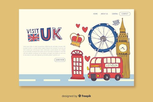 Добро пожаловать на целевую страницу великобритании Бесплатные векторы