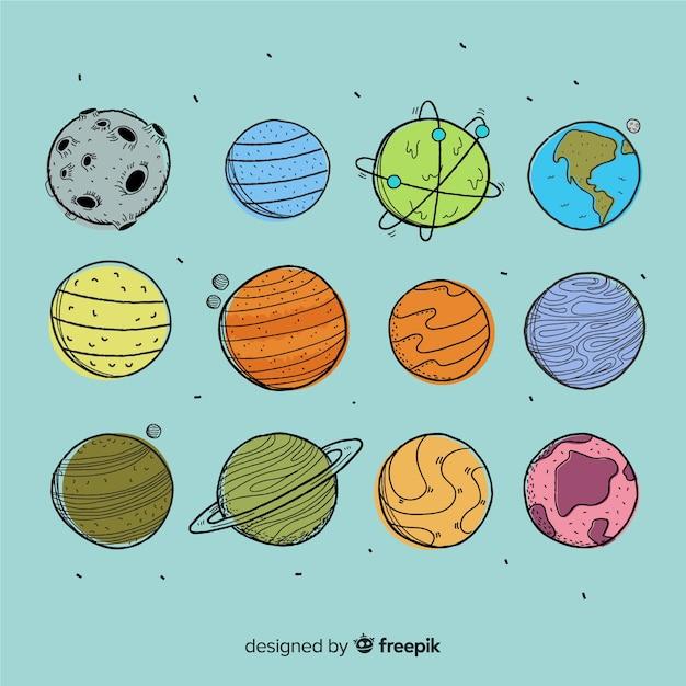 手描きの惑星コレクション 無料ベクター