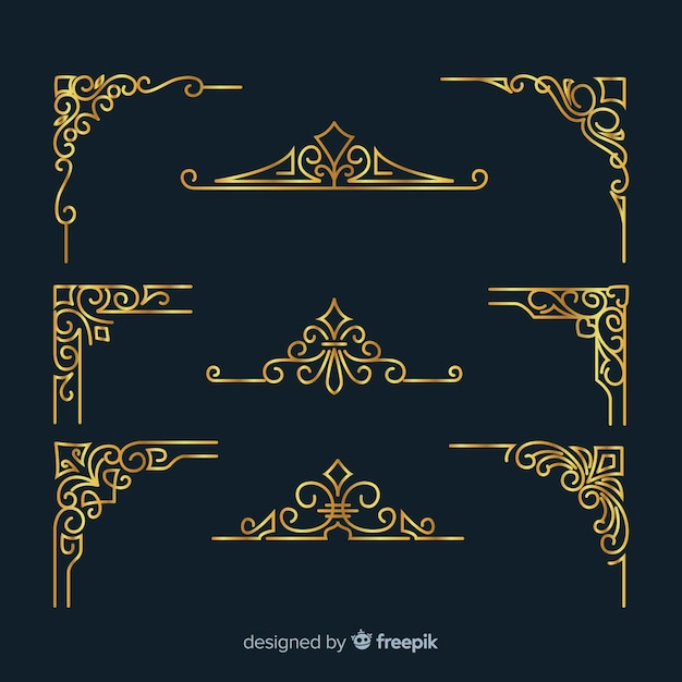 Золотая рамка с орнаментом Бесплатные векторы