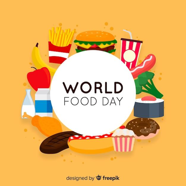 世界の食の日のフラットなデザイン 無料ベクター