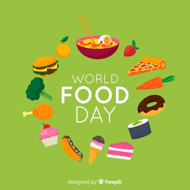 Плоский дизайн всемирного дня еды Бесплатные векторы