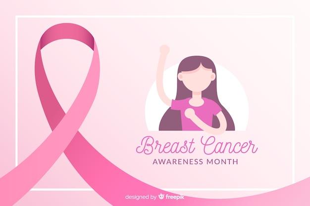 リボンと女の子のイラストと乳がんの意識 無料ベクター