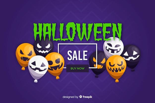 Плоский дизайн фона продажи хэллоуин с воздушными шарами Бесплатные векторы