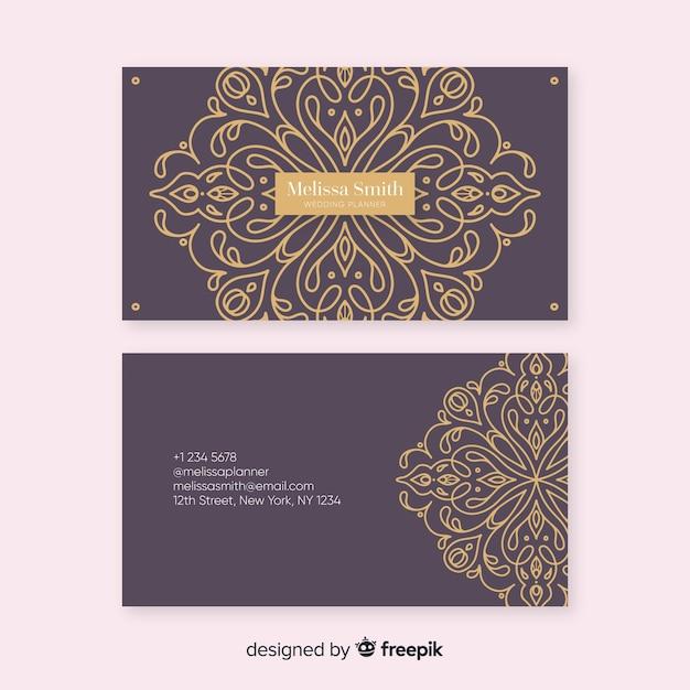 黄金の装飾用名刺テンプレート 無料ベクター