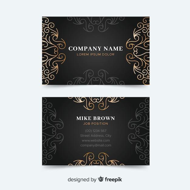 Золотой шаблон визитной карточки с орнаментом Бесплатные векторы