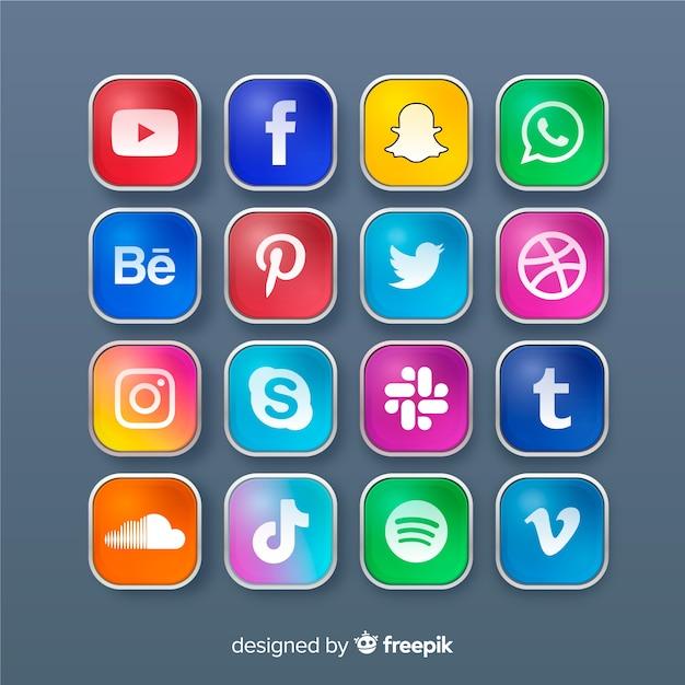 Реалистичная коллекция логотипов в социальных сетях Бесплатные векторы