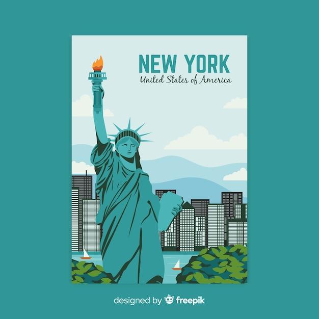 都市テンプレートのレトロなプロモーションポスター 無料ベクター