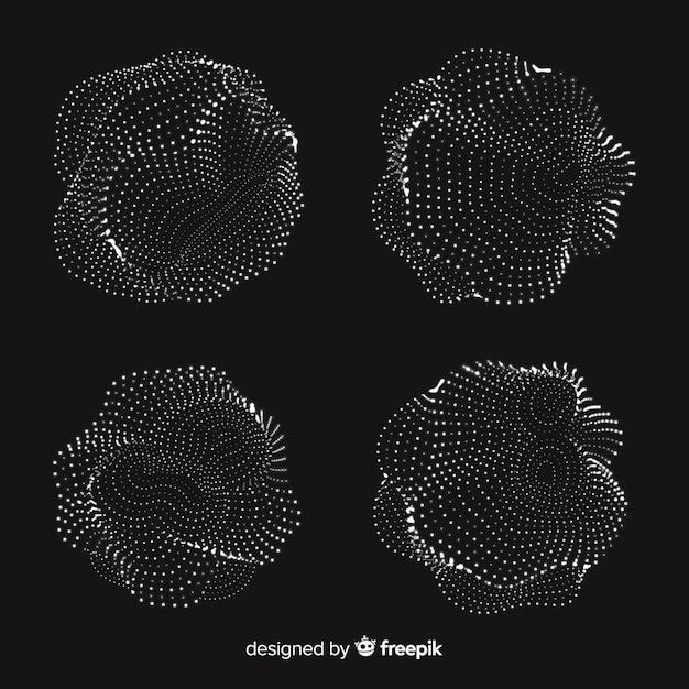抽象的な粒子形状パック 無料ベクター