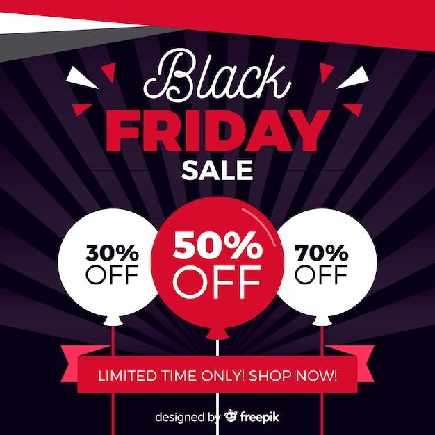 Плоский дизайн черная пятница продажа с воздушными шарами Бесплатные векторы