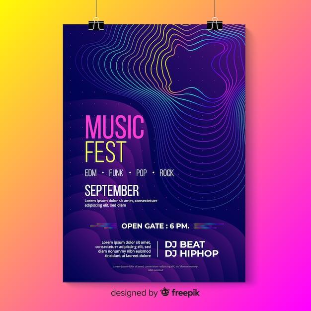 Шаблон плаката музыки красочные абстрактные волны Бесплатные векторы