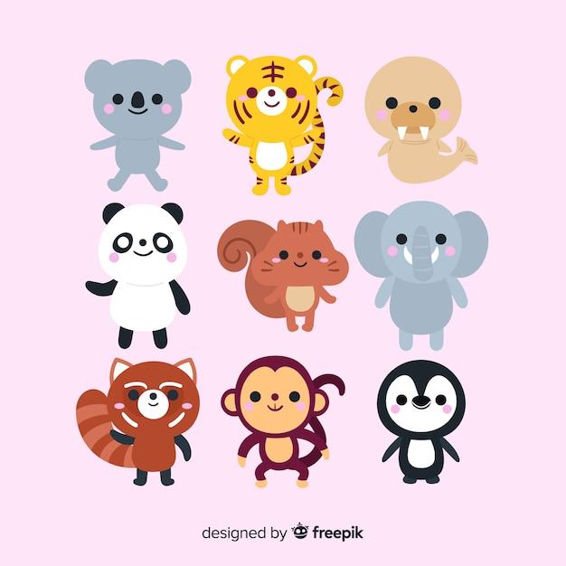 かわいい動物コレクションデザインを描く 無料ベクター