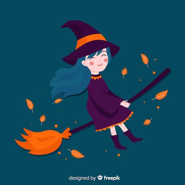 ほうきでかわいいハロウィーン魔女 無料ベクター