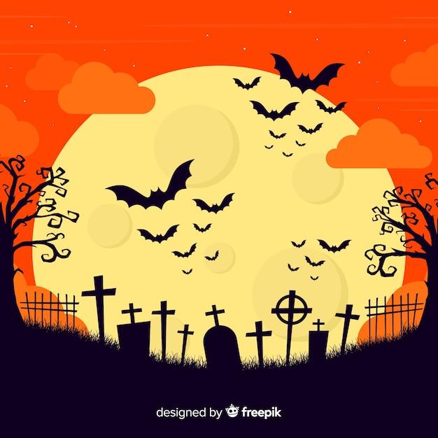 Хэллоуин концепция с плоским дизайн фона Бесплатные векторы