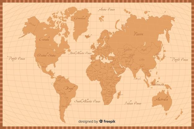 レトロなスタイルの世界地図のテクスチャ背景 無料ベクター