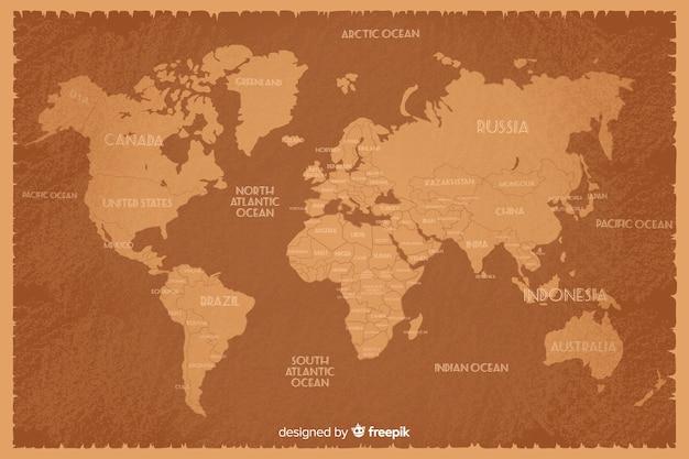 国の名前を持つビンテージスタイルの世界地図 無料ベクター