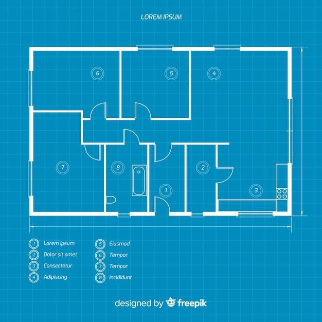 家の青写真のレイアウト 無料ベクター