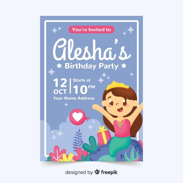 人魚と子供の誕生日の招待状のテンプレート 無料ベクター