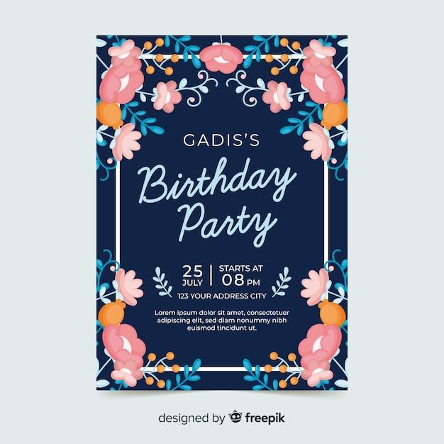 花の誕生日の招待状のコンセプト 無料ベクター