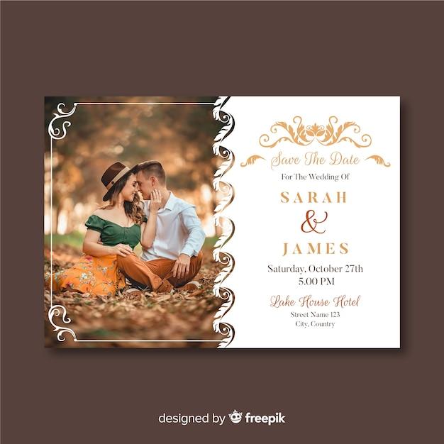 Шаблон свадебного приглашения с фото и орнаментом Бесплатные векторы