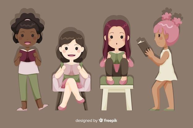 Молодая группа девушек отдыхает и читает Бесплатные векторы