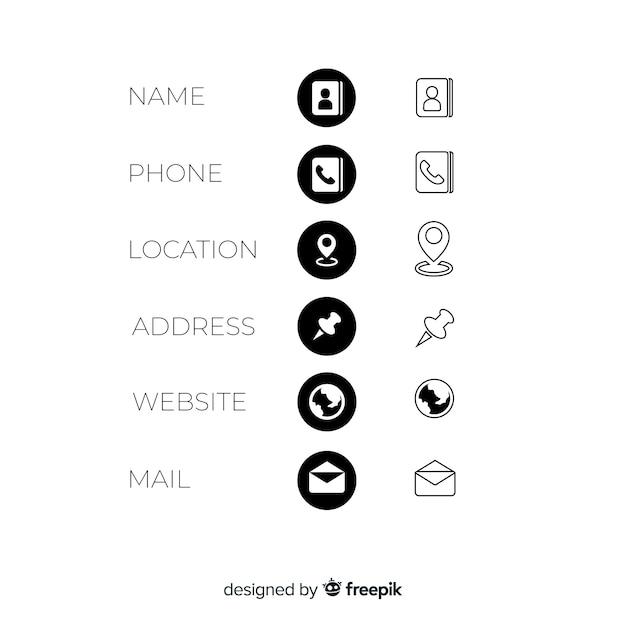 Коллекция икон визитная карточка Бесплатные векторы