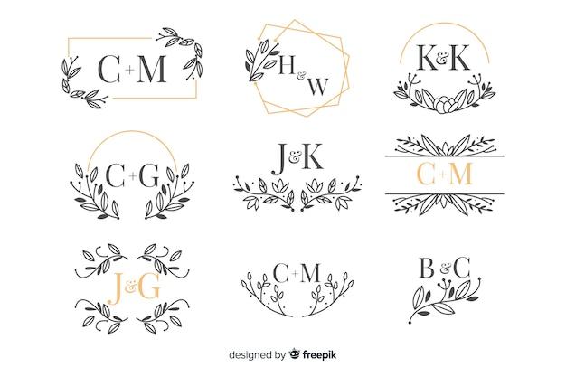 Коллекция красивых декоративных свадебных вензелей Бесплатные векторы