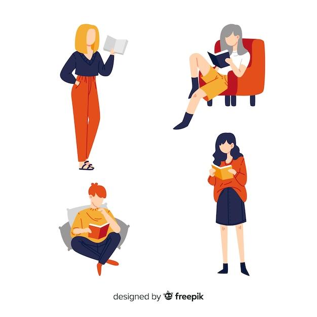 読んでいる女性の平らな設計図 無料ベクター