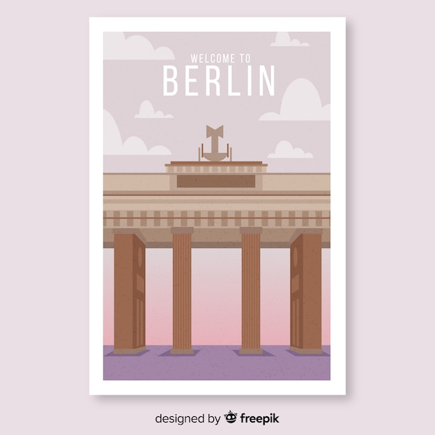 ベルリンテンプレートのレトロなプロモーションポスター 無料ベクター