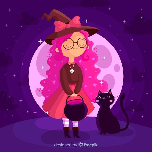 Молодая хэллоуин ведьма с черной кошкой Бесплатные векторы