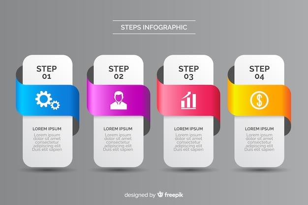 スタイルのステップでフラットなデザインのインフォグラフィック 無料ベクター