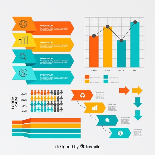 ビジネスインフォグラフィックの創造的な図形コレクション 無料ベクター