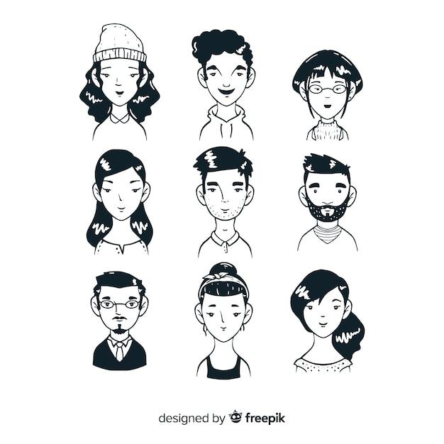 Эскизы людей аватар коллекции Бесплатные векторы