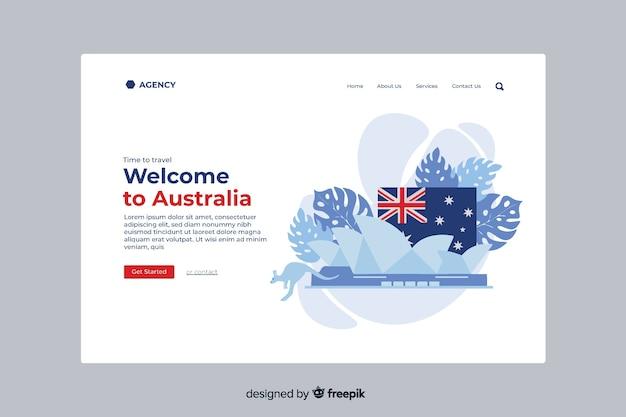 Добро пожаловать на целевую страницу австралии Бесплатные векторы
