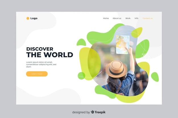 Откройте для себя мир путешествий целевую страницу Бесплатные векторы