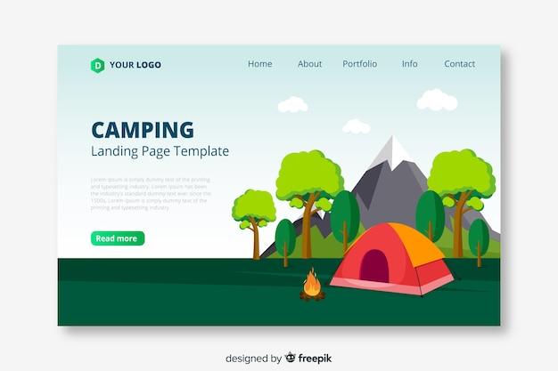 キャンプ旅行のランディングページテンプレート 無料ベクター