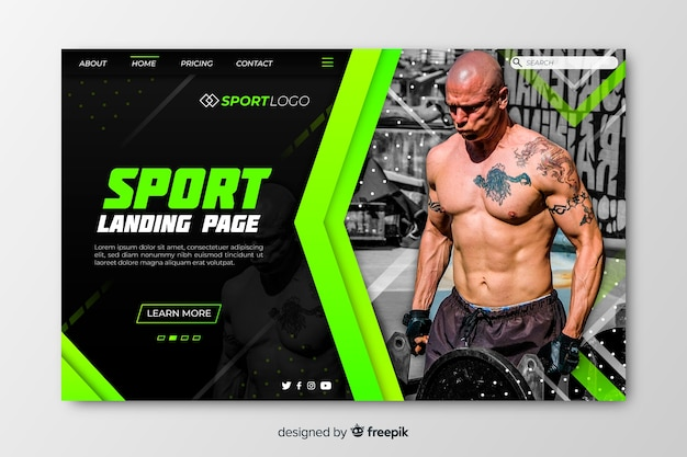 Шаблон спортивной целевой страницы с фото Бесплатные векторы