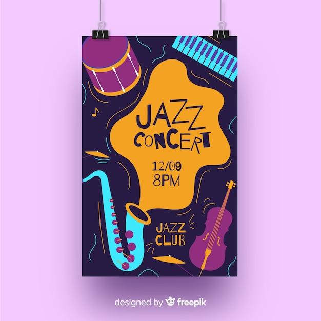 手描きのジャズ音楽ポスター 無料ベクター