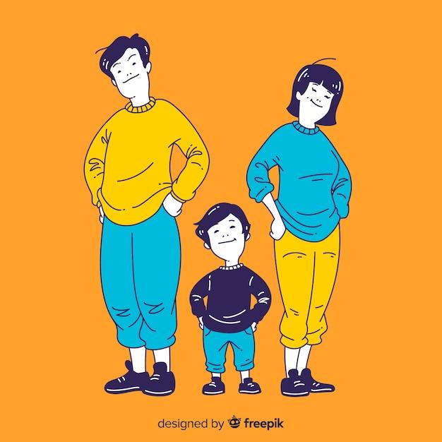 韓国の描画スタイルの若い家族図 無料ベクター
