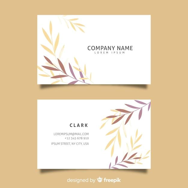 Шаблон цветочные элегантные визитки Бесплатные векторы