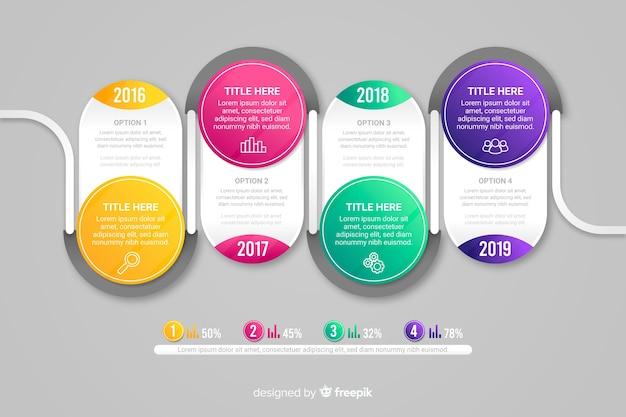 Современная красочная инфографика шаги Бесплатные векторы