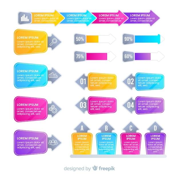 Современные красочные элементы инфографики Бесплатные векторы