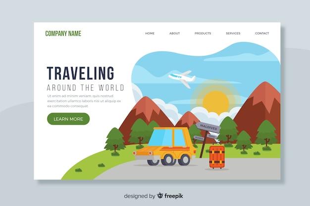 Целевая страница путешествует по миру Бесплатные векторы