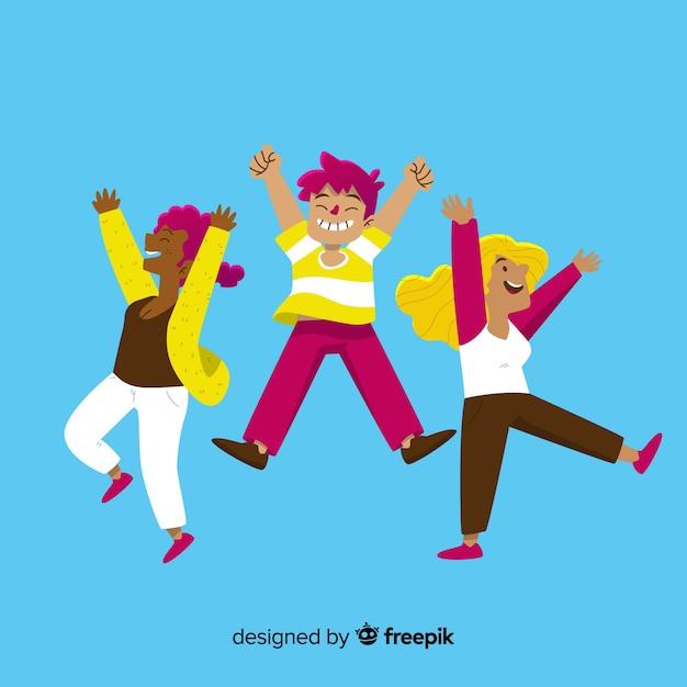 Плоский дизайн счастливых девушек прыгает Бесплатные векторы