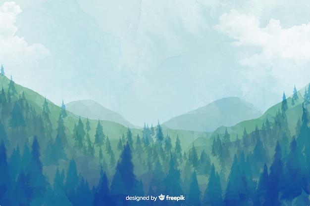 抽象的な森の水彩風景の背景 無料ベクター