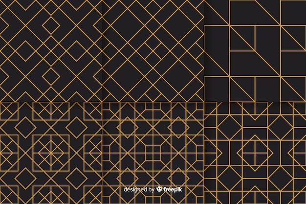 幾何学的な豪華なパターンデザインのセット 無料ベクター
