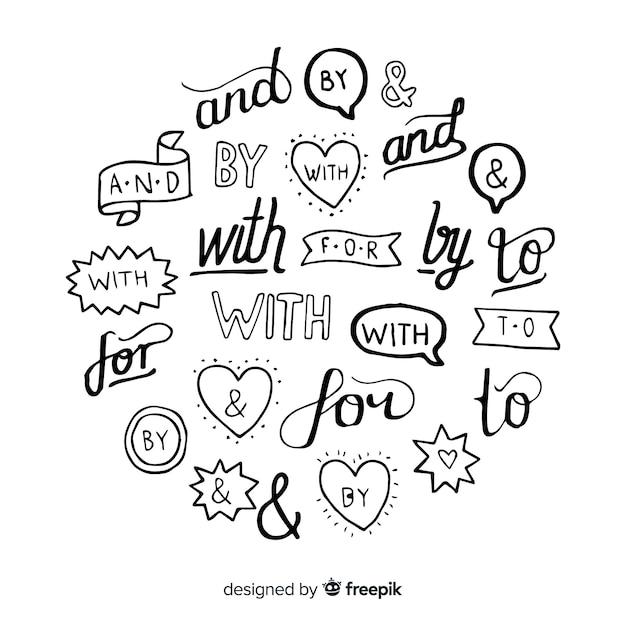 手描きの結婚式の標語コレクション 無料ベクター