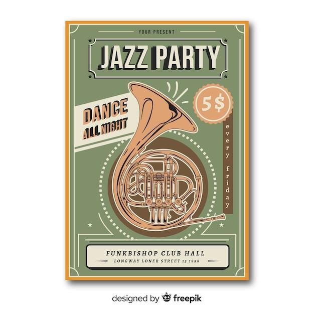 Плакат ретро музыкальный шаблон Бесплатные векторы